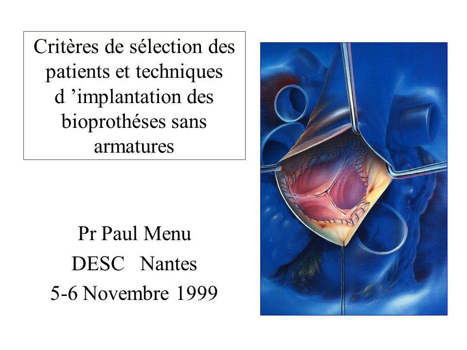 Critères de sélection des patients et techniques d implantation des bioprothéses sans armatures Pr Paul Menu DESC Nantes 5-6 Novembre 1999