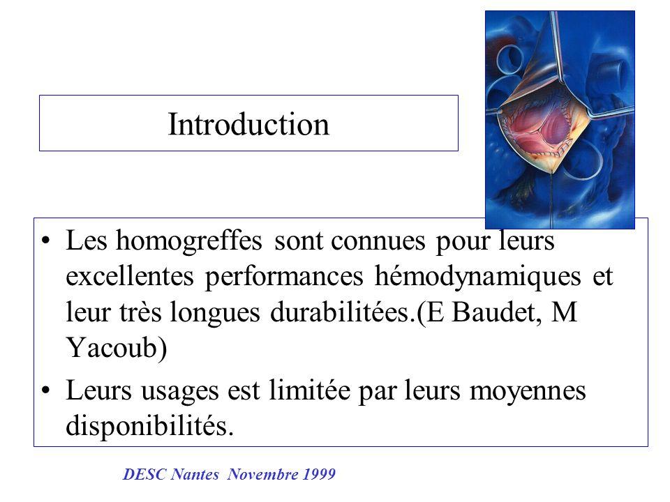 Introduction Les homogreffes sont connues pour leurs excellentes performances hémodynamiques et leur très longues durabilitées.(E Baudet, M Yacoub) Le