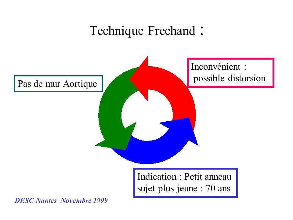 Technique Freehand : Pas de mur Aortique Indication : Petit anneau sujet plus jeune : 70 ans Inconvénient : possible distorsion DESC Nantes Novembre 1