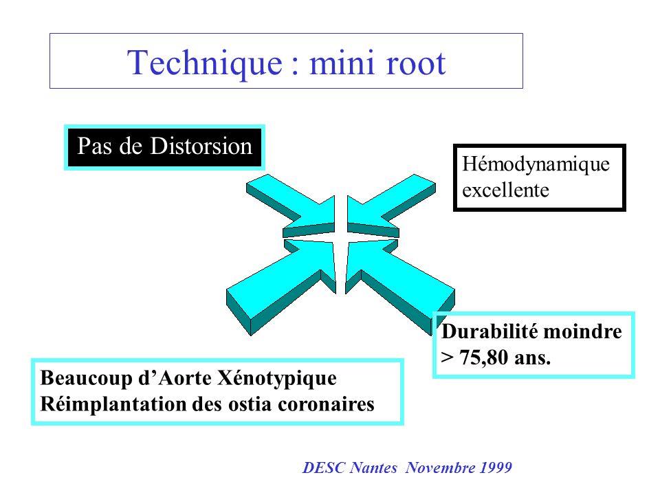 Technique : mini root Pas de Distorsion Beaucoup dAorte Xénotypique Réimplantation des ostia coronaires Hémodynamique excellente Durabilité moindre >