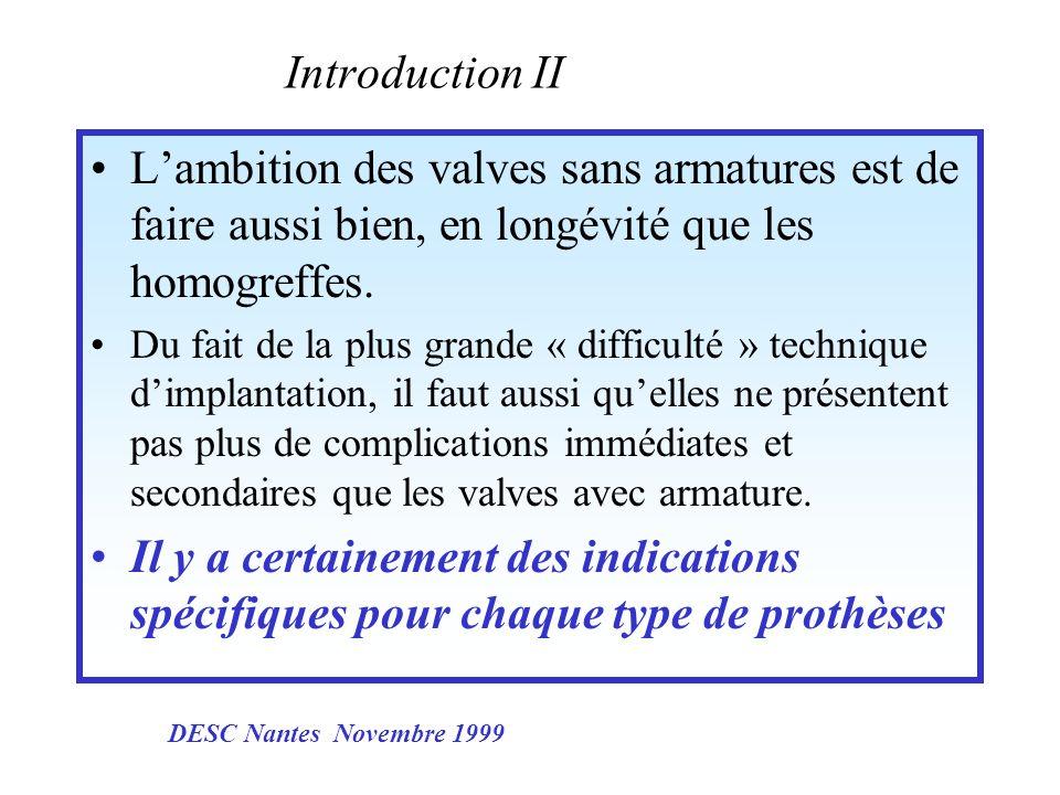 Introduction II Lambition des valves sans armatures est de faire aussi bien, en longévité que les homogreffes. Du fait de la plus grande « difficulté