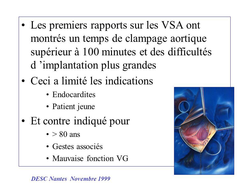 Les premiers rapports sur les VSA ont montrés un temps de clampage aortique supérieur à 100 minutes et des difficultés d implantation plus grandes Cec