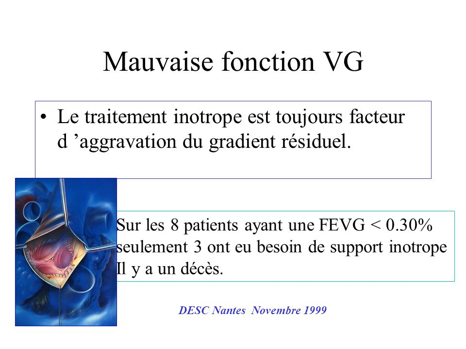 Mauvaise fonction VG Le traitement inotrope est toujours facteur d aggravation du gradient résiduel. Sur les 8 patients ayant une FEVG < 0.30% seuleme