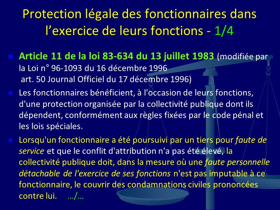 Protection légale des fonctionnaires dans lexercice de leurs fonctions - 1/4 Article 11 de la loi 83-634 du 13 juillet 1983 (modifiée par la Loi n° 96-1093 du 16 décembre 1996 art.