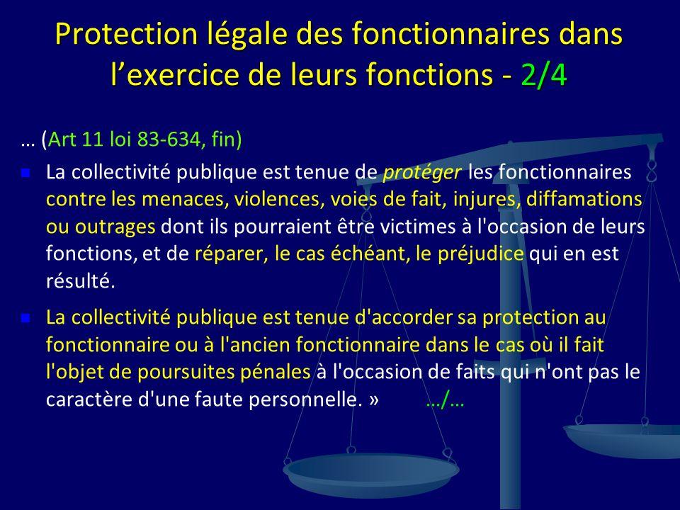 Protection légale des fonctionnaires dans lexercice de leurs fonctions - 2/4 … (Art 11 loi 83-634, fin) La collectivité publique est tenue de protéger