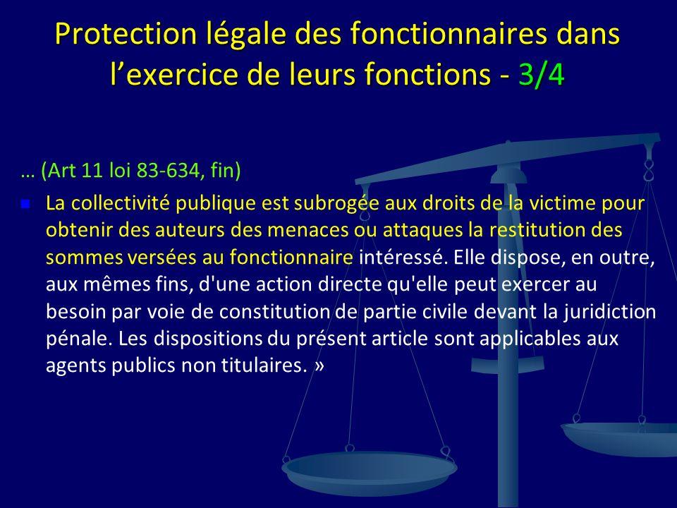 Protection légale des fonctionnaires dans lexercice de leurs fonctions - 3/4 … (Art 11 loi 83-634, fin) La collectivité publique est subrogée aux droi