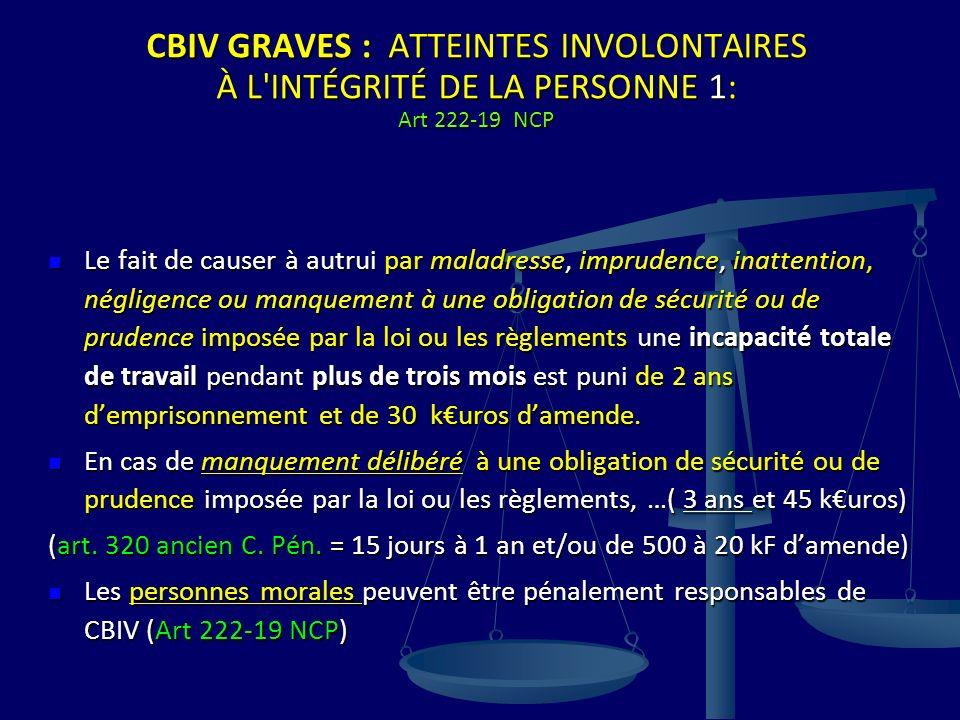 CBIV GRAVES : ATTEINTES INVOLONTAIRES À L'INTÉGRITÉ DE LA PERSONNE 1: Art 222-19 NCP Le fait de causer à autrui par maladresse, imprudence, inattentio