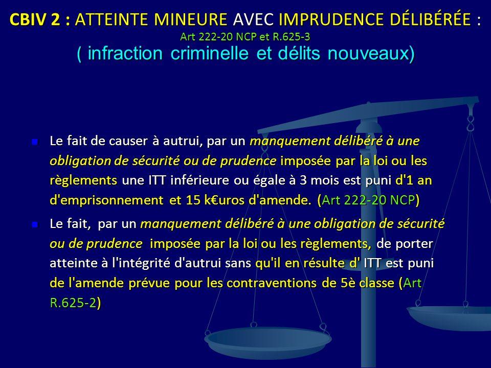 CBIV 2 : ATTEINTE MINEURE AVEC IMPRUDENCE DÉLIBÉRÉE : Art 222-20 NCP et R.625-3 ( infraction criminelle et délits nouveaux) Le fait de causer à autrui