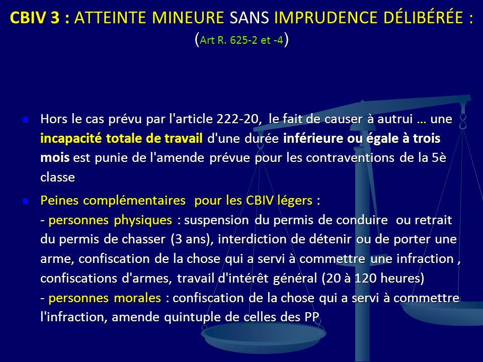 CBIV 3 : ATTEINTE MINEURE SANS IMPRUDENCE DÉLIBÉRÉE : ( Art R. 625-2 et -4 ) Hors le cas prévu par l'article 222-20, le fait de causer à autrui … une
