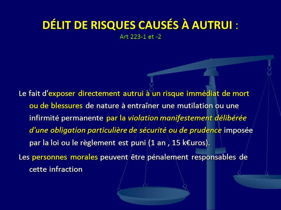 DÉLIT DE RISQUES CAUSÉS À AUTRUI : Art 223-1 et -2 Le fait d'exposer directement autrui à un risque immédiat de mort ou de blessures de nature à entra