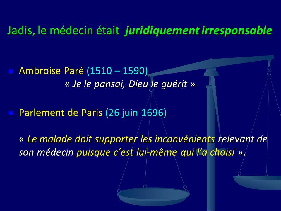 Jadis, le médecin était juridiquement irresponsable Ambroise Paré (1510 – 1590) « Je le pansai, Dieu le guérit » Ambroise Paré (1510 – 1590) « Je le pansai, Dieu le guérit » Parlement de Paris (26 juin 1696) « Le malade doit supporter les inconvénients relevant de son médecin puisque cest lui-même qui la choisi ».