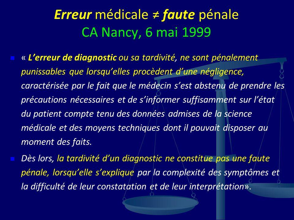 Erreur médicale faute pénale CA Nancy, 6 mai 1999 « Lerreur de diagnostic ou sa tardivité, ne sont pénalement punissables que lorsquelles procèdent du