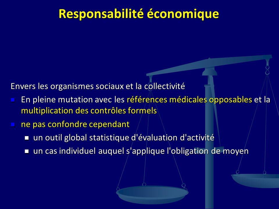 Responsabilité économique Envers les organismes sociaux et la collectivité En pleine mutation avec les références médicales opposables et la multiplic