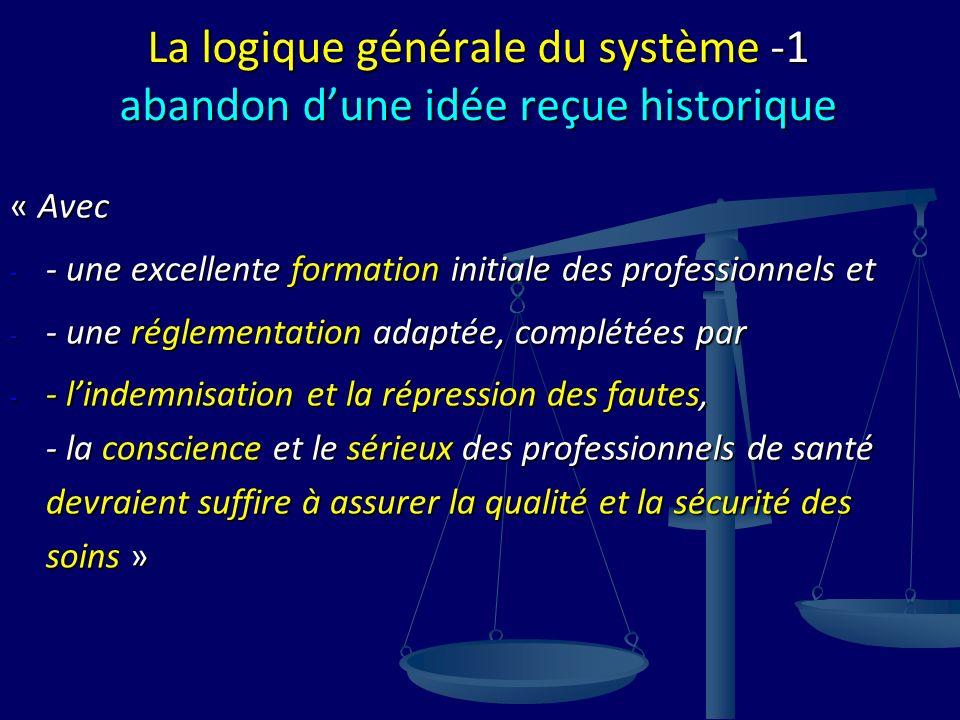 La logique générale du système -1 abandon dune idée reçue historique « Avec - - une excellente formation initiale des professionnels et - - une réglem
