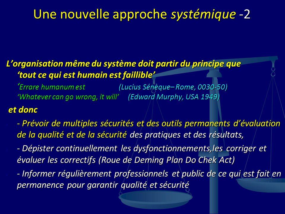 Une nouvelle approche systémique -2 Lorganisation même du système doit partir du principe quetout ce qui est humain est faillible Errare humanum est (