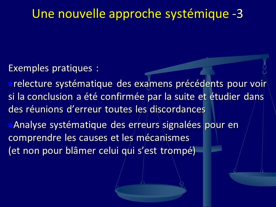 Une nouvelle approche systémique -3 Exemples pratiques : relecture systématique des examens précédents pour voir si la conclusion a été confirmée par
