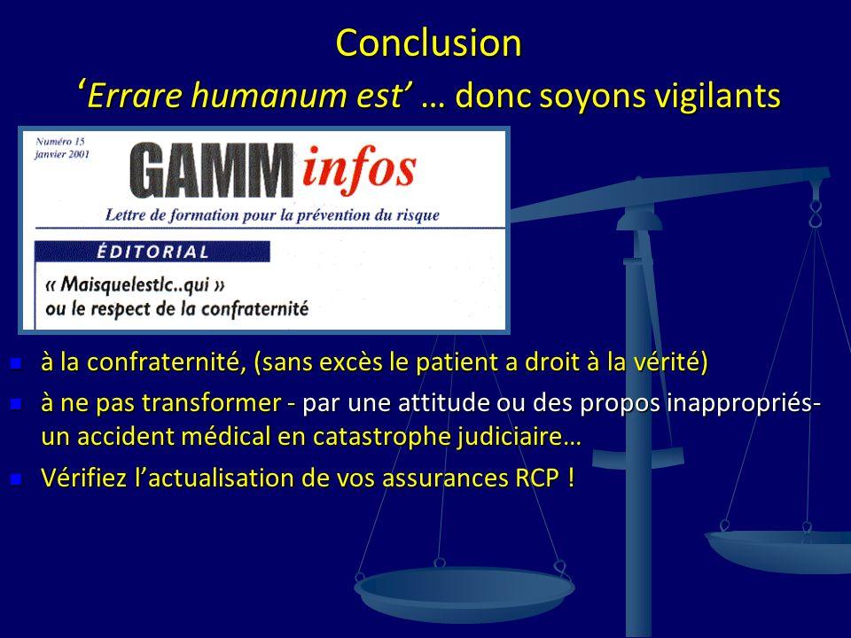 Conclusion Errare humanum est … donc soyons vigilants à la confraternité, (sans excès le patient a droit à la vérité) à la confraternité, (sans excès
