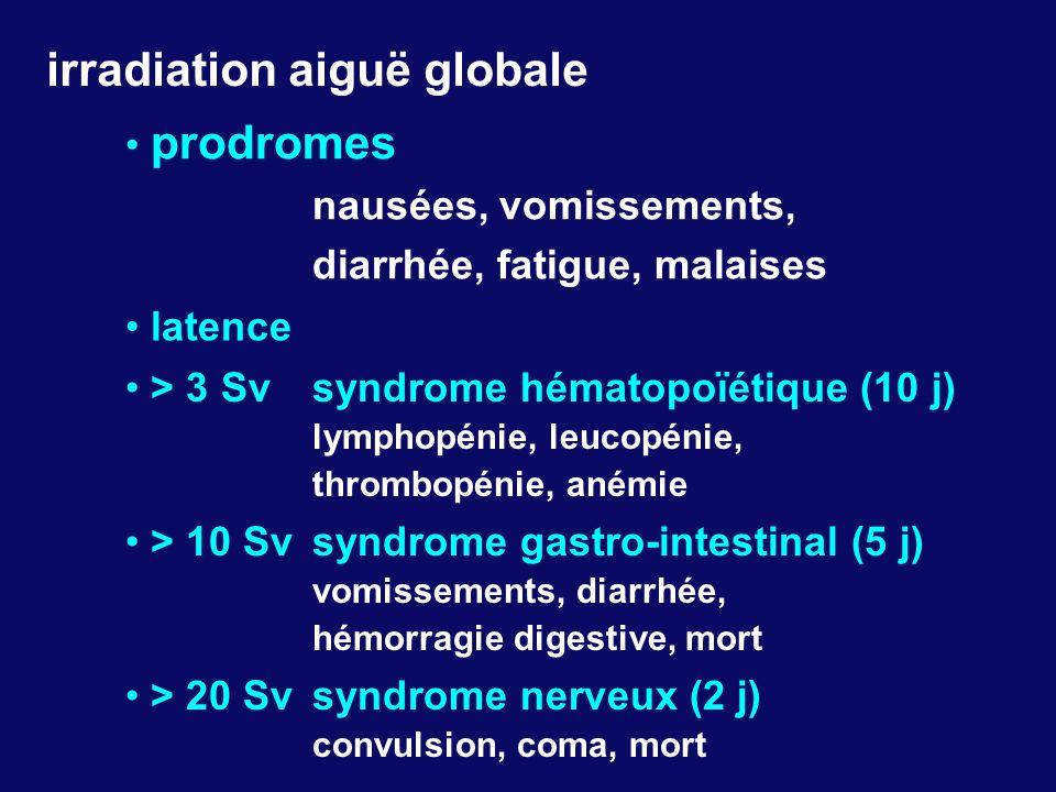 irradiation aiguë globale prodromes nausées, vomissements, diarrhée, fatigue, malaises > 20 Sv syndrome nerveux (2 j) convulsion, coma, mort latence >