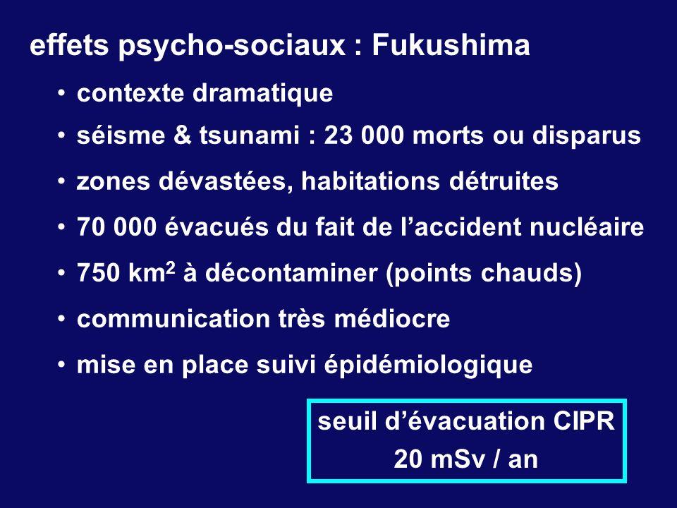 effets psycho-sociaux : Fukushima contexte dramatique séisme & tsunami : 23 000 morts ou disparus zones dévastées, habitations détruites 70 000 évacué