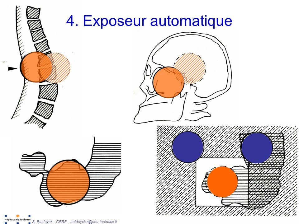 Unité de Radiophysique et Radioprotection S. Balduyck – CERF – balduyck.s@chu-toulouse.fr 4. Exposeur automatique