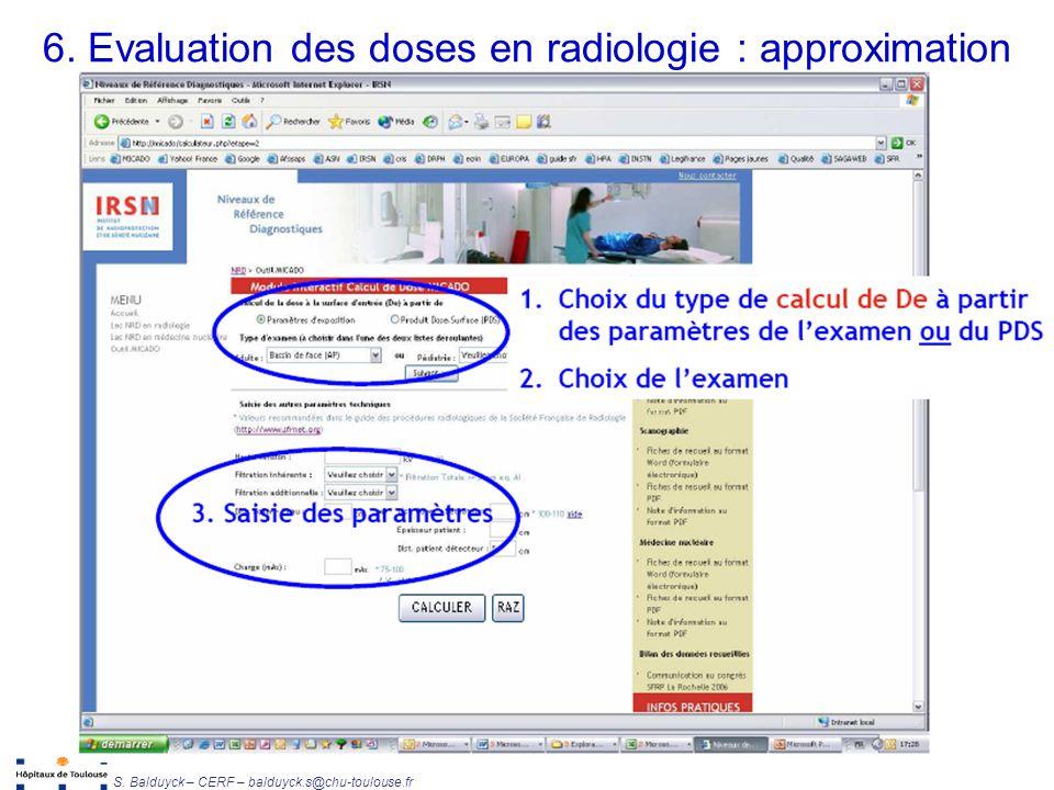 Unité de Radiophysique et Radioprotection S. Balduyck – CERF – balduyck.s@chu-toulouse.fr 6. Evaluation des doses en radiologie : approximation
