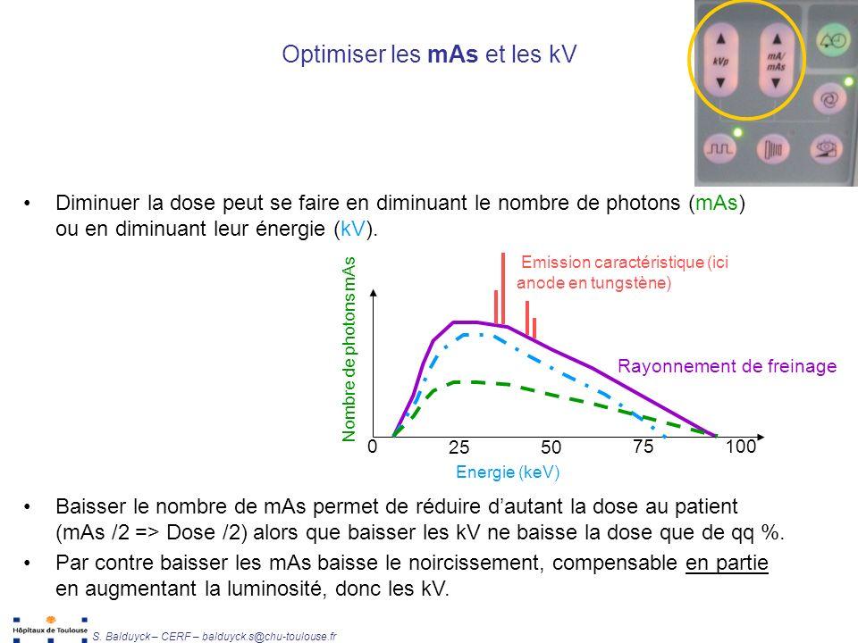 Unité de Radiophysique et Radioprotection S. Balduyck – CERF – balduyck.s@chu-toulouse.fr Optimiser les mAs et les kV Diminuer la dose peut se faire e