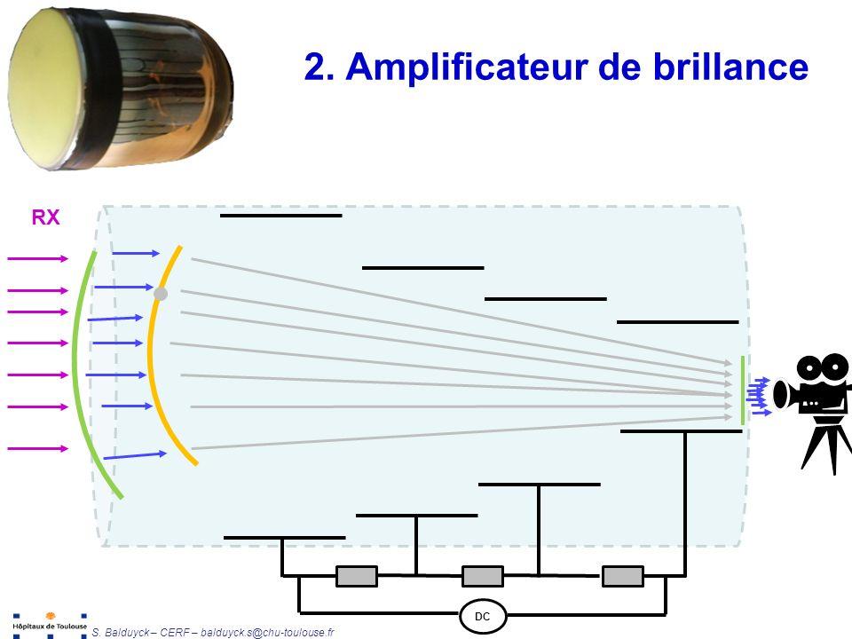 Unité de Radiophysique et Radioprotection S. Balduyck – CERF – balduyck.s@chu-toulouse.fr 2. Amplificateur de brillance RX DC