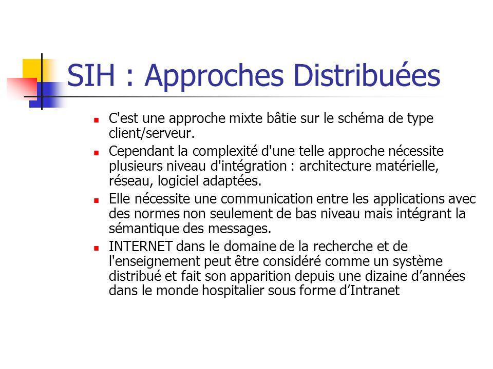 SIH : Approches Distribuées C'est une approche mixte bâtie sur le schéma de type client/serveur. Cependant la complexité d'une telle approche nécessit