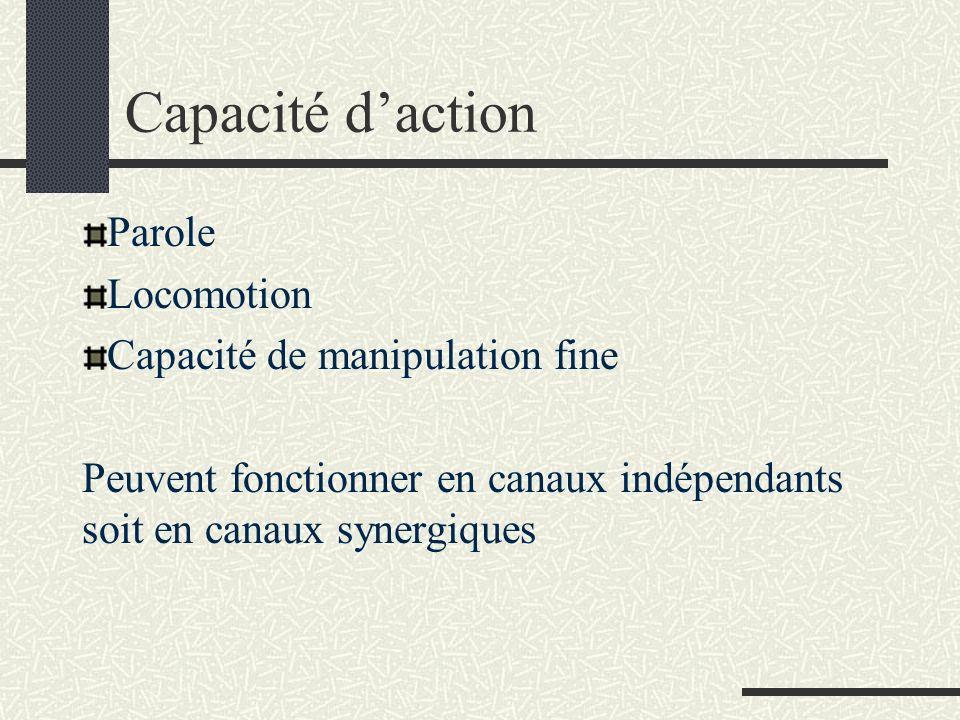 Capacité daction Parole Locomotion Capacité de manipulation fine Peuvent fonctionner en canaux indépendants soit en canaux synergiques