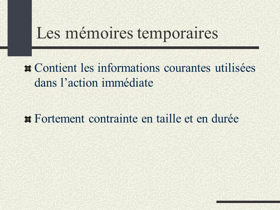 Les mémoires temporaires Contient les informations courantes utilisées dans laction immédiate Fortement contrainte en taille et en durée