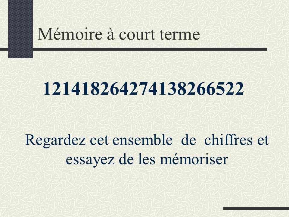 121418264274138266522 Regardez cet ensemble de chiffres et essayez de les mémoriser Mémoire à court terme