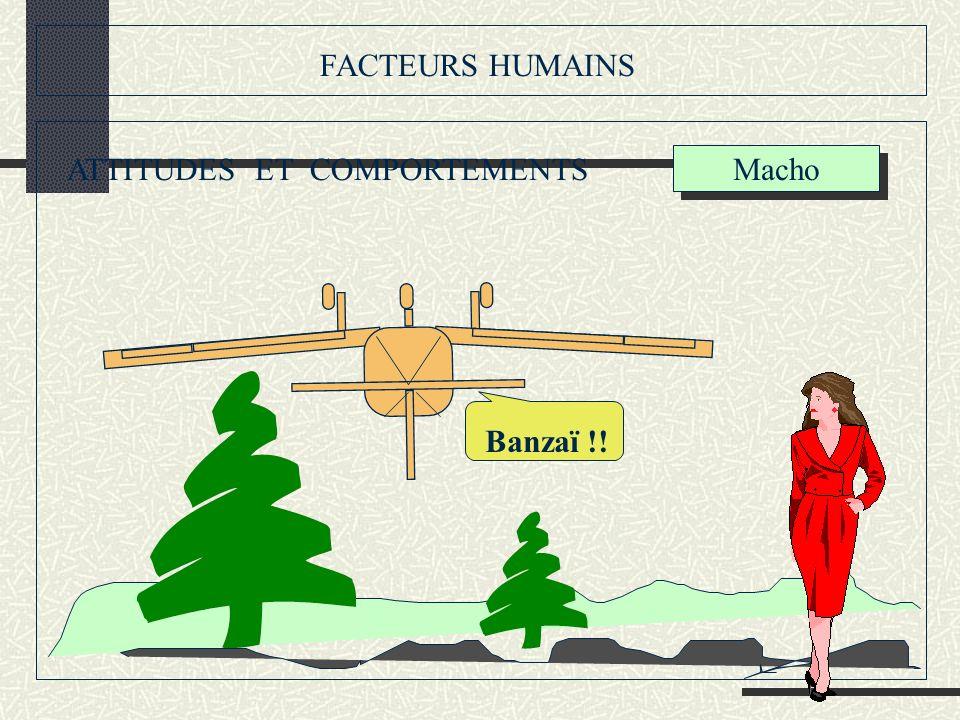 FACTEURS HUMAINS ATTITUDES ET COMPORTEMENTS Banzaï !! Macho