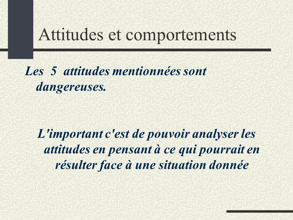 Attitudes et comportements Les 5 attitudes mentionnées sont dangereuses. L'important c'est de pouvoir analyser les attitudes en pensant à ce qui pourr