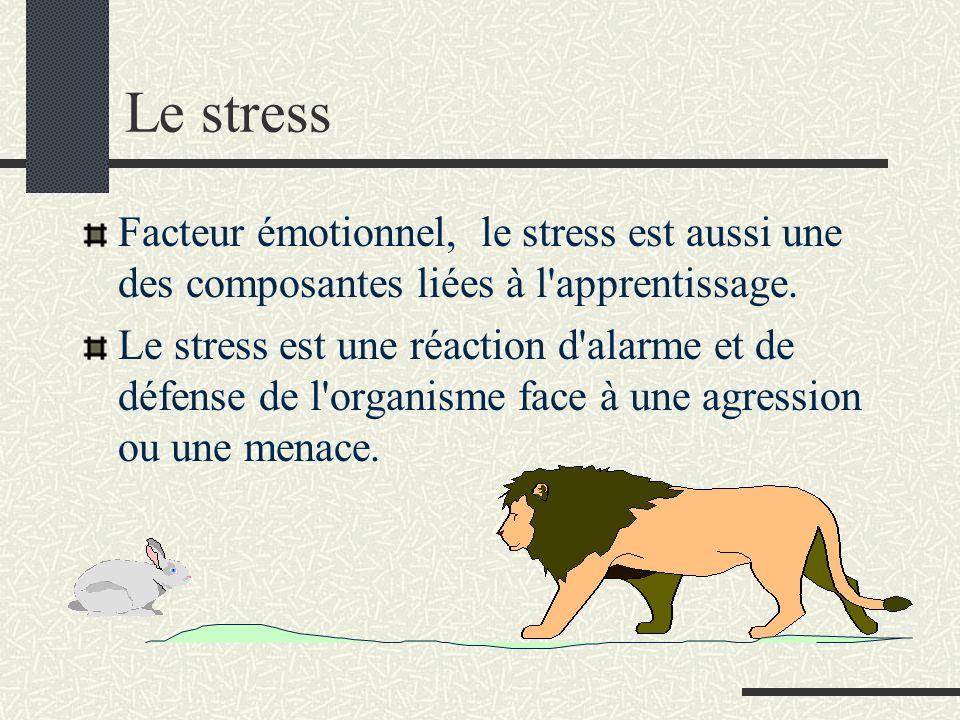 Le stress Facteur émotionnel, le stress est aussi une des composantes liées à l'apprentissage. Le stress est une réaction d'alarme et de défense de l'