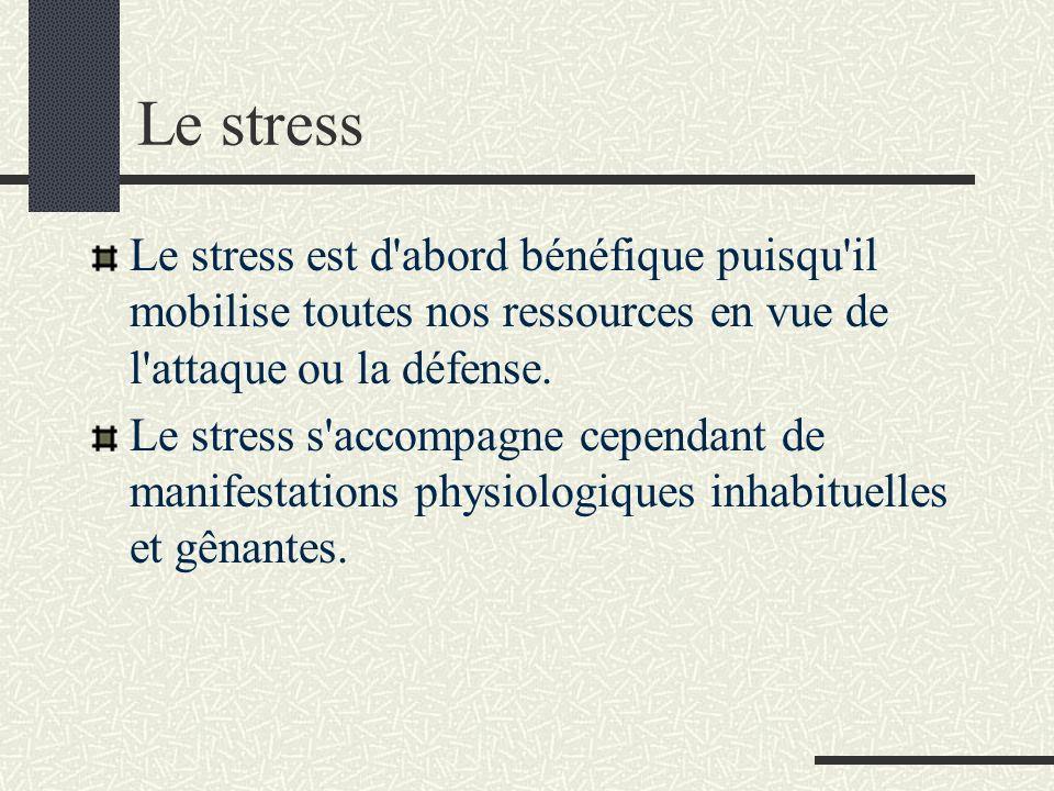 Le stress Le stress est d'abord bénéfique puisqu'il mobilise toutes nos ressources en vue de l'attaque ou la défense. Le stress s'accompagne cependant