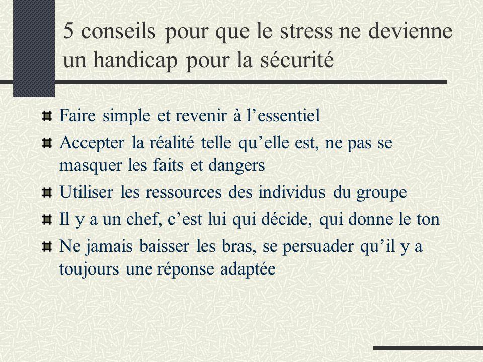 5 conseils pour que le stress ne devienne un handicap pour la sécurité Faire simple et revenir à lessentiel Accepter la réalité telle quelle est, ne p