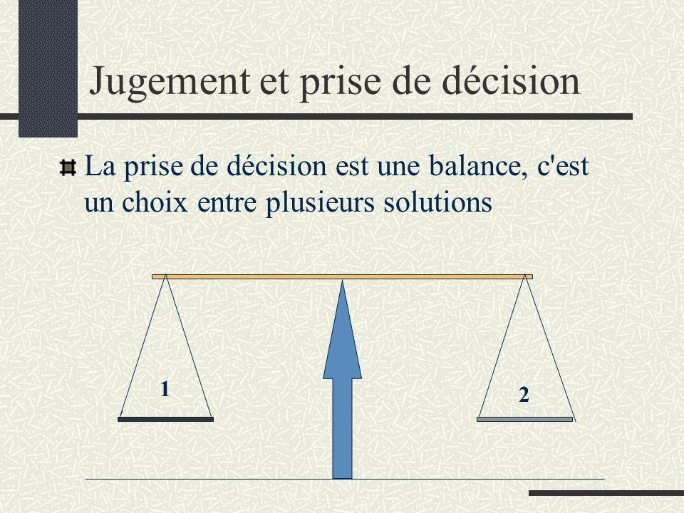 Jugement et prise de décision La prise de décision est une balance, c'est un choix entre plusieurs solutions 1 2