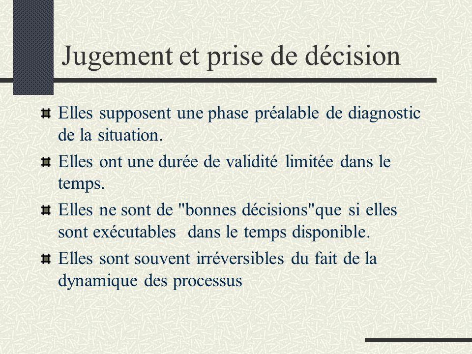 Jugement et prise de décision Elles supposent une phase préalable de diagnostic de la situation. Elles ont une durée de validité limitée dans le temps