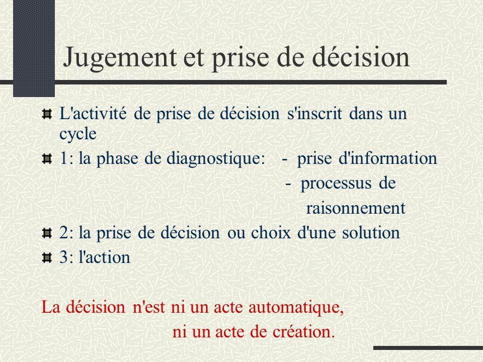 Jugement et prise de décision L'activité de prise de décision s'inscrit dans un cycle 1: la phase de diagnostique: - prise d'information - processus d