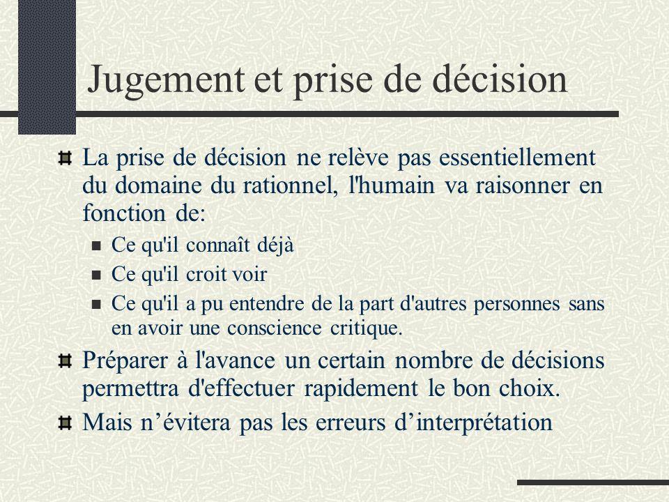 Jugement et prise de décision La prise de décision ne relève pas essentiellement du domaine du rationnel, l'humain va raisonner en fonction de: Ce qu'