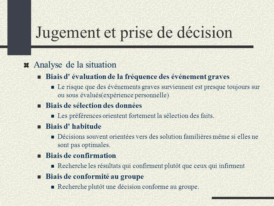 Jugement et prise de décision Analyse de la situation Biais d' évaluation de la fréquence des événement graves Le risque que des événements graves sur