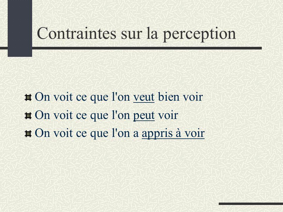 Contraintes sur la perception On voit ce que l'on veut bien voir On voit ce que l'on peut voir On voit ce que l'on a appris à voir