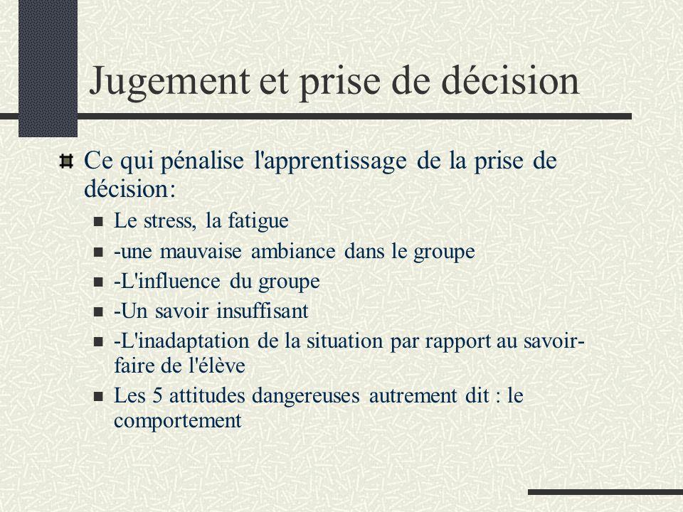 Jugement et prise de décision Ce qui pénalise l'apprentissage de la prise de décision: Le stress, la fatigue -une mauvaise ambiance dans le groupe -L'