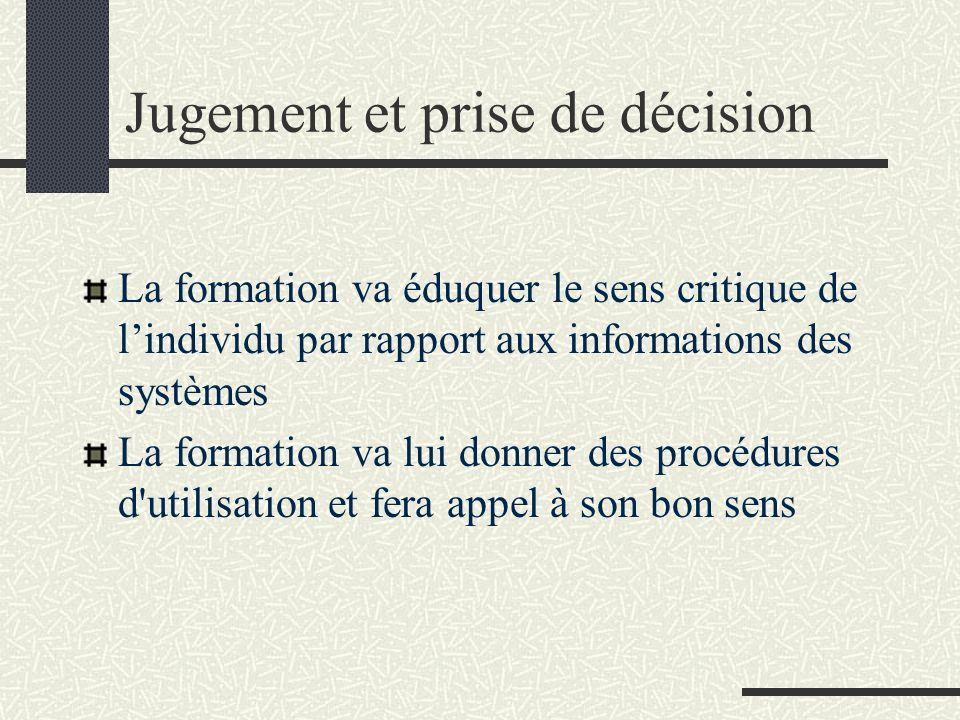 Jugement et prise de décision La formation va éduquer le sens critique de lindividu par rapport aux informations des systèmes La formation va lui donn