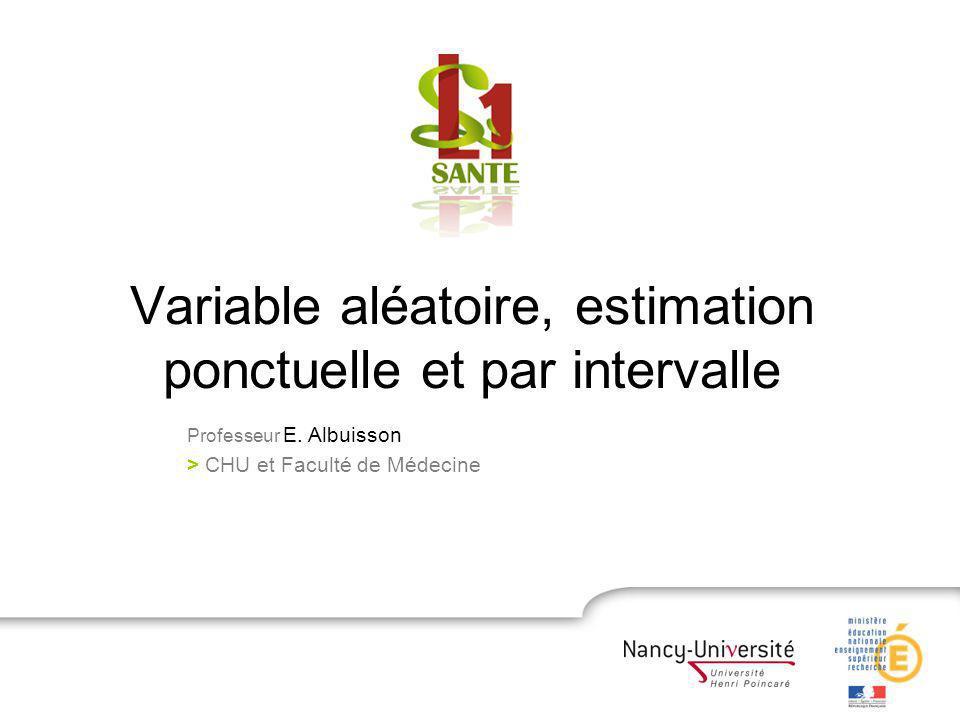 Variable aléatoire, estimation ponctuelle et par intervalle Professeur E. Albuisson > CHU et Faculté de Médecine