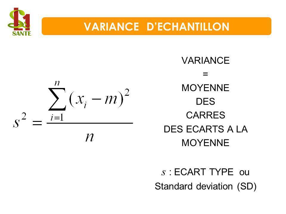 VARIANCE = MOYENNE DES CARRES DES ECARTS A LA MOYENNE s : ECART TYPE ou Standard deviation (SD) VARIANCE DECHANTILLON