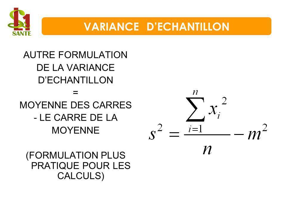 AUTRE FORMULATION DE LA VARIANCE DECHANTILLON = MOYENNE DES CARRES - LE CARRE DE LA MOYENNE (FORMULATION PLUS PRATIQUE POUR LES CALCULS) VARIANCE DECH