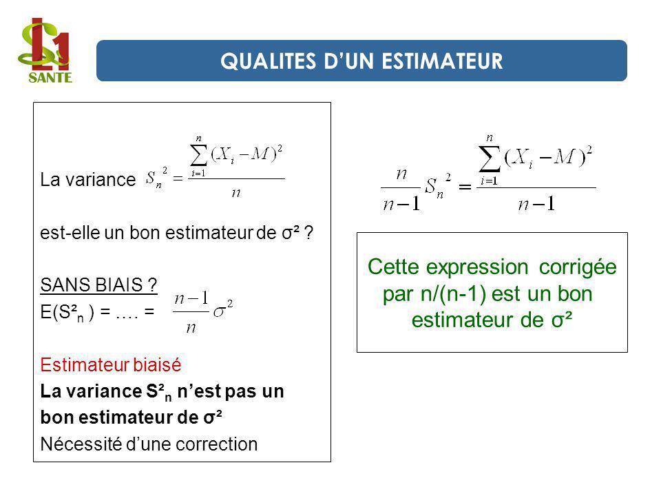 La variance est-elle un bon estimateur de σ² ? SANS BIAIS ? E(S² n ) = …. = Estimateur biaisé La variance S² n nest pas un bon estimateur de σ² Nécess