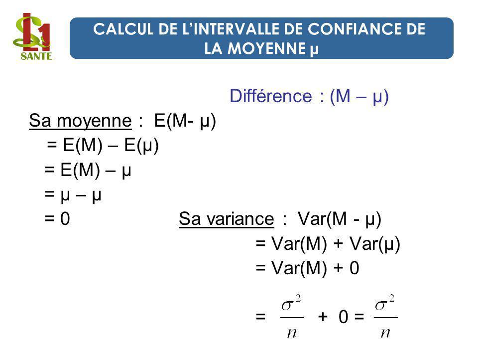 Différence : (M – μ) Sa moyenne : E(M- μ) = E(M) – E(μ) = E(M) – μ = μ – μ = 0 Sa variance : Var(M - μ) = Var(M) + Var(μ) = Var(M) + 0 = + 0 = CALCUL