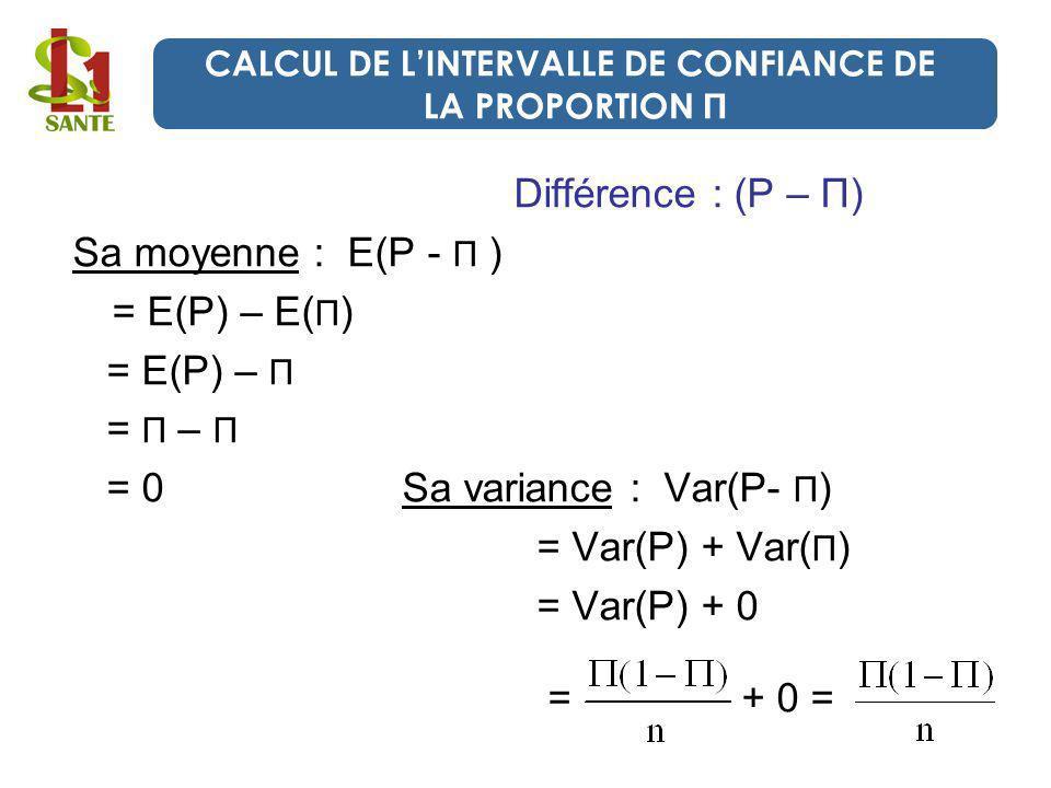 Différence : (P – П) Sa moyenne : E(P - П ) = E(P) – E( П ) = E(P) – П = П – П = 0 Sa variance : Var(P- П ) = Var(P) + Var( П ) = Var(P) + 0 = + 0 = C